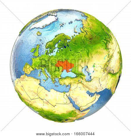 Ukraine In Red On Full Earth
