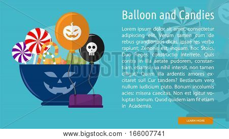 Balloon and Candies Conceptual Banner Great flat design illustration concepts for halloween, holiday, horror, night and much more.