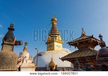 Eyes of Buddha. Wisdom eyes of Buddha in Swayambhunath Stupa after the earthquake, Kathmandu, Nepal.