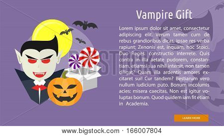 Vampire Gift Conceptual Banner Great flat design illustration concepts for halloween, holiday, horror, night and much more.