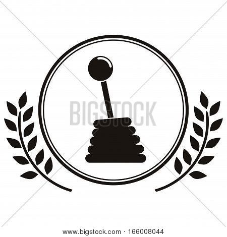 gearshift prize in monochrome with olive branch vector illustration