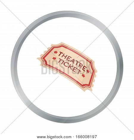 Theatre ticket icon in cartoon style isolated on white background. Theater symbol vector illustration