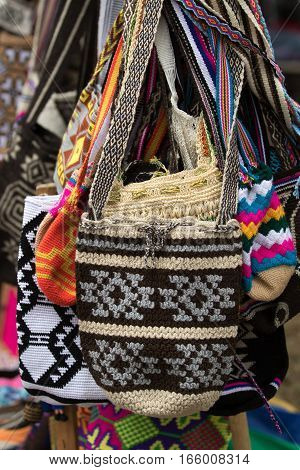 indigenous hand knitted Colombian bags in Silvia
