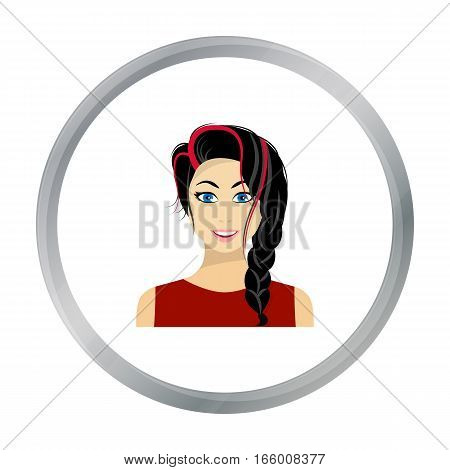 Black hair woman icon in flat style isolated on white background. Woman symbol vector illustration. - stock vector