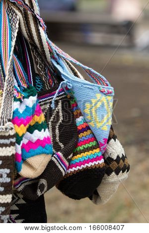 hand knitted indigenous Colombian bags in Silvia