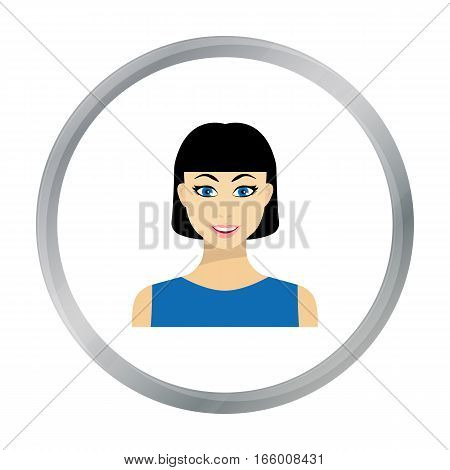 Black hair woman icon in flat style isolated on white background. Woman symbol vector illustration.