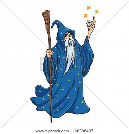 Wizard Cartoon with Blue Clothes Character Design Mascot Vector Illustration