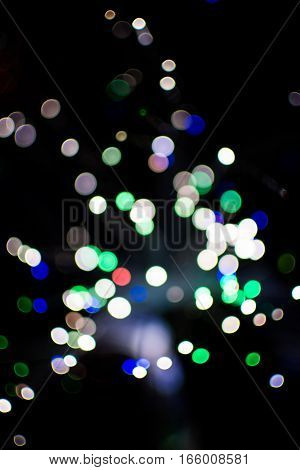 Colorful Bokeh Light Celebrate At Night, Defocus Light Abstract Background.