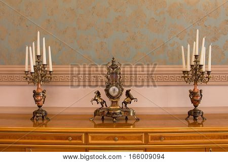 KAZAN, RUSSIA - 16 JANUARY 2017, City Hall - luxury and beautiful touristic place - the mayor's office - antique accessories, wide angle