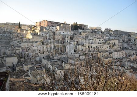 Panoramic view of the ancient town of Matera (Sassi di Matera), European Capital of Culture 2019, Basilicata, Southern Italy