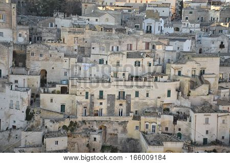 Houses in the ancient town of Matera (Sassi di Matera), European Capital of Culture 2019, Basilicata, Southern Italy