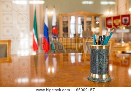 KAZAN, RUSSIA - 16 JANUARY 2017, City Hall - luxury and beautiful touristic place - the mayor's office - writing accessories, wide angle