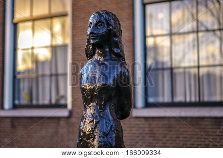 AMSTERDAM NETHERLANDS - JANUARY 06 2017: Famous sculptures of Amsterdam city centre. General landscape view of city monuments & art objects. January 06 2017 in Amsterdam - Netherlands.