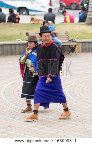 September 6, 2016 Silvia, Colombia: Guambiano man and women equally wear skirts as traditional clothing