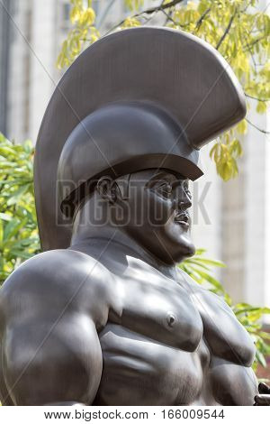 October 16 2016 Medellin Colombia: closeup details of a man's nude one of Botero's surrealist statues publicly displayed in the city center