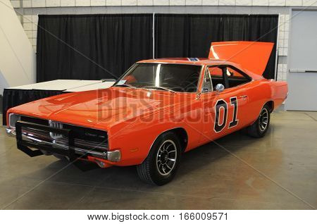 The General Lee being shown at the world of wheels auto show in Pittsburgh PA by it's current owner on the 20th to the 22nd January 2016