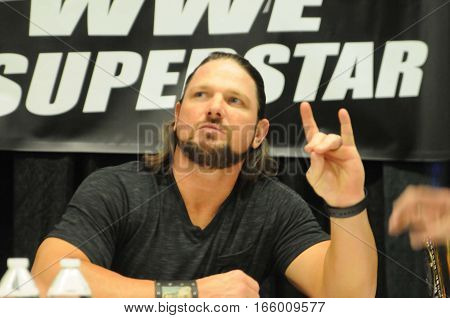 WWE wrestler and world champion AJ Styles makes a guest appearance at world of wheels were he signed autographs and posed for pictures with fans in Pittsburgh PA