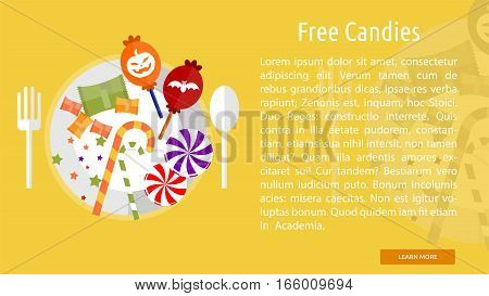 Free Candies Conceptual Banner Great flat design illustration concepts for halloween, holiday, horror, night and much more.