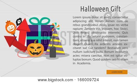 Halloween Gift Conceptual Banner Great flat design illustration concepts for halloween, holiday, horror, night and much more.