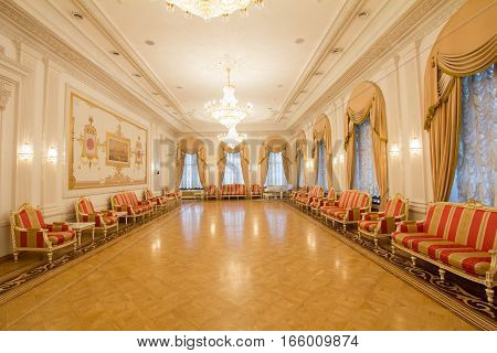 KAZAN, RUSSIA - 16 JANUARY 2017, City Hall - luxury and beautiful touristic place - antique interior, wide angle