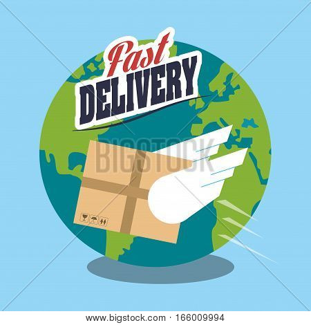 earth planet  and carton icon over blue background. fast delivery concept. colorful design. vector illustration