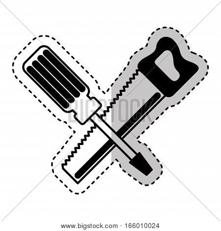 handsaw and screwdriver tools isolated icon vector illustration design