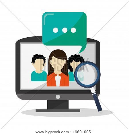 magnifying glass, monitor computer and woman icon over white background. colorful design. vector illustration