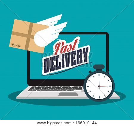 laptop computer with chronometer and carton box icon over blue background. fast delivery concept. colorful design. vector illustration