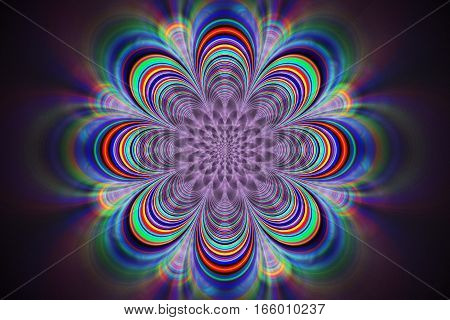 Abstract Psychedelic Fractal Mandala In Rainbow Colors. Digital Artwork. 3D Render.