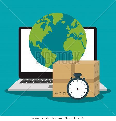 laptop computer, earth planet and carton box icon. fast delivery concept. colorful design. vector illustration