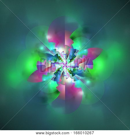 Abstract Glossy Flower. Fantasy Mandala Design In Purple, Pink, Green And Blue Colors. Digital Fract