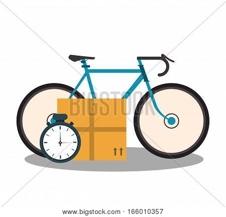 bicycle, carton box and chronometer icon over white background. colorful design. vector illustration