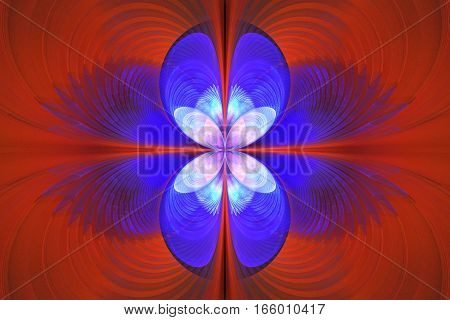 Exotic Flower In Blue And Red Colors. Abstract Fractal Background. 3D Render.