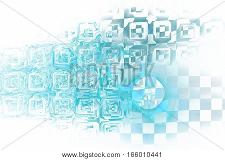 Abstract Blue Industrial Background. Fractal Texture. 3D Render.