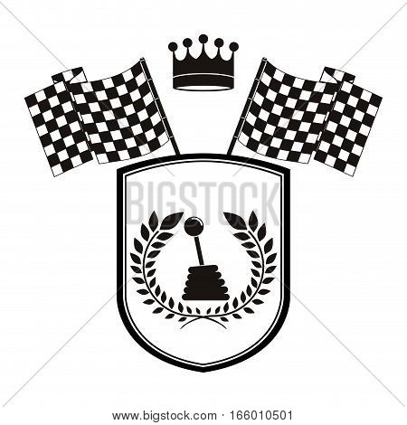 monochrome shield gearshift with flags and olive crown vector illustration
