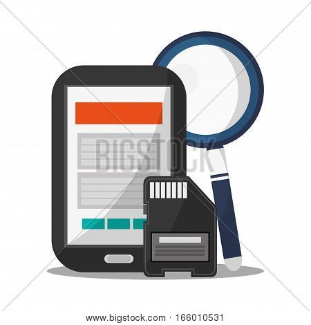 smartphone, magnifying glass and  sd card icon over white background. technical service concept. colorful design. vector illustration