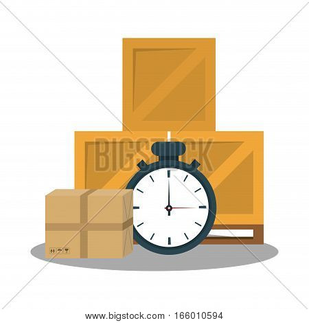 chronometer, carton boxes over white background. fast delivery concept. colorful design. vector illustration