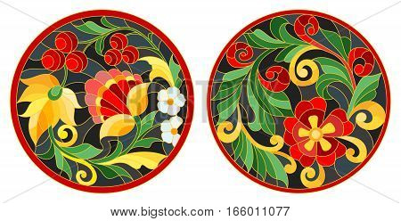 Set of illustrations of the round stained glass Windows with abstract flowers and leaves stylized folk painted Khokhloma