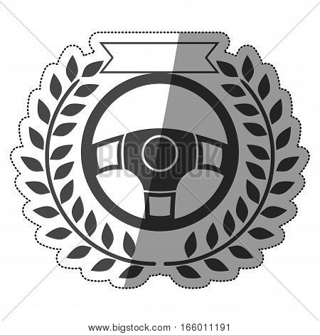 sticker prize of rudder in monochrome with olive branch and ribbon with half shaded vector illustration