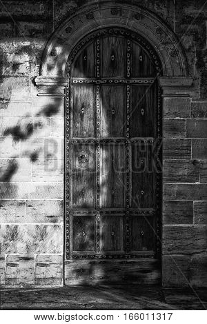 Black And White Detail Image Of Regency Period Design Door Into Medieval House