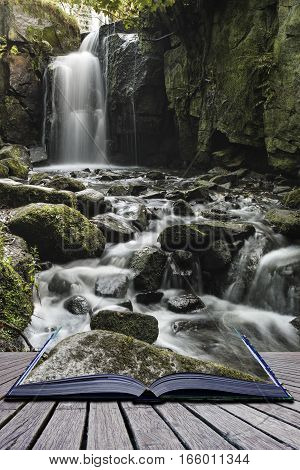 Beautiful Waterfall In Forest Landscape Long Exposure Flowing Through Trees And Over Rocks Coming Ou
