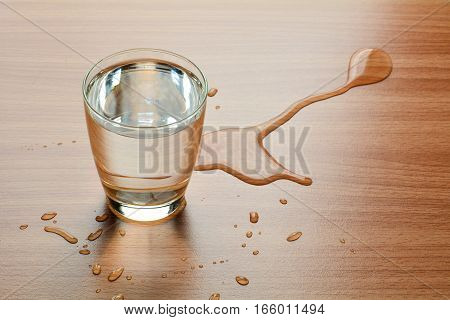 Water spill out of water glass and sloppy on wood table