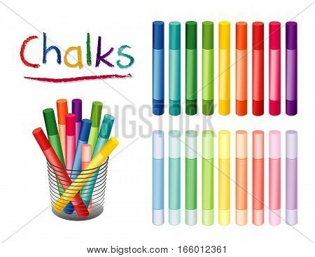 Chalk crayons in 18 rainbow colors, including pastels for  for home, office, back to school, art and craft projects, scrapbooks in desk organizer.