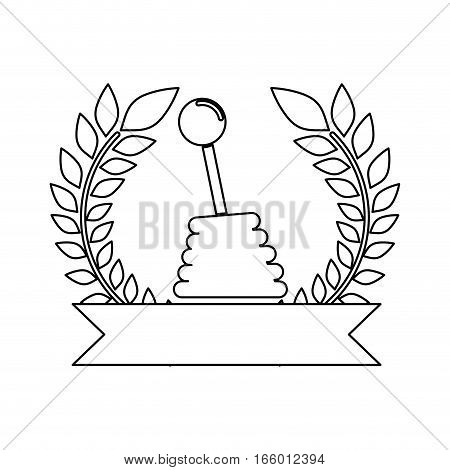 gearshift silhouette prize in monochrome with olive branch and ribbon vector illustration