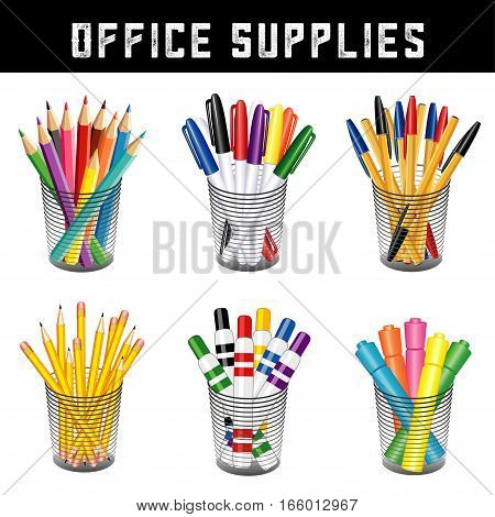 Office supplies, writing and drawing tools in desk organizers for office, home, back to school projects, pencils, pens, felt tip markers, highlighters, colored pencils, isolated on white background.