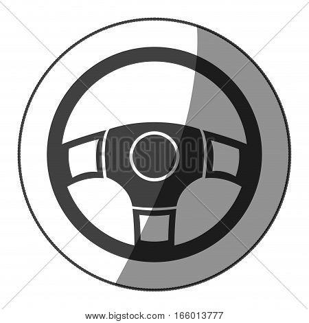 sticker monochrome rudder with half shaded vector illustration