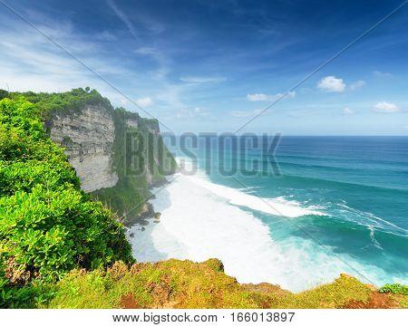 Coast at Uluwatu temple, Bali island,  Indonesia.