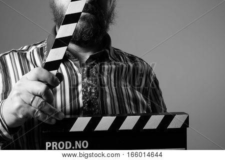 Close-up Of A Man Clapperboard Cinema
