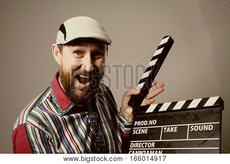 Close-up Of A Man Smiling Clapperboard Cinema