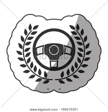 rudder in monochrome sticker with olive branch and half shaded vector illustration
